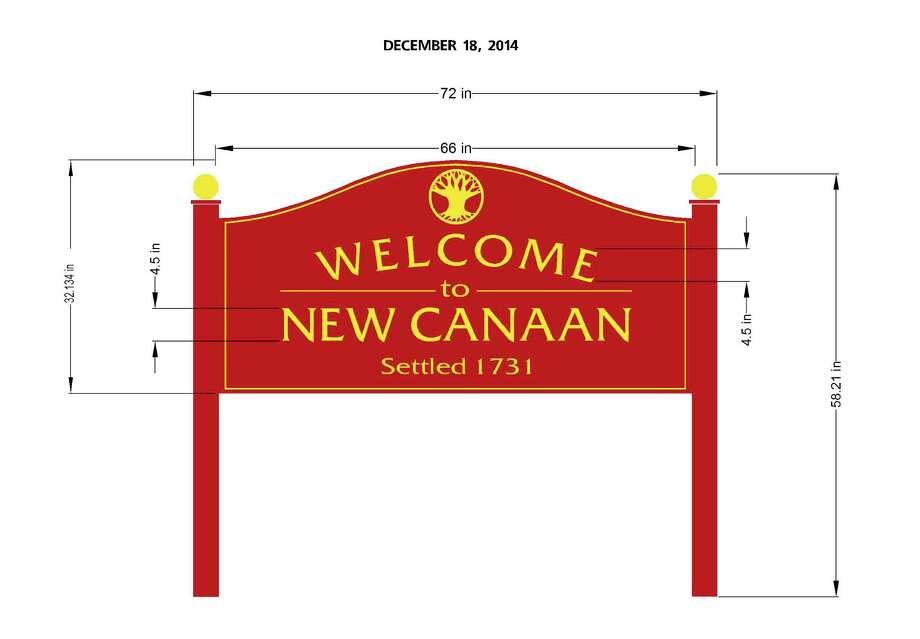 """The town will install new """"Welcome to New Canaan"""" signs at the intersections of South Avenue and Gerdes Road and on Route 123 at Carter Street to greet motorists entering town. Photo: Contributed Photo / New Canaan News"""