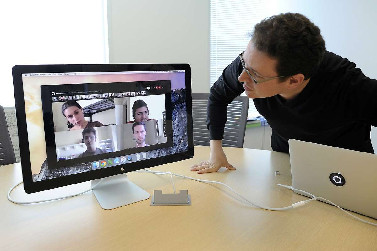 Founder Ben Nelson demonstrates the online technology that students and teachers use in place of physical classrooms while attending his private cyber college, the Minerva School at KGI, at their offices in San Francisco, CA Tuesday, August 18, 2015.