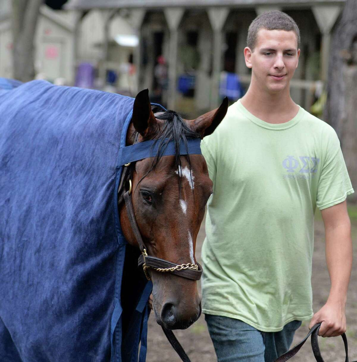 Tim Kaylor cools out Smart Transitions who won the Curlin Stakes earlier in the meeting early Sunday morning Aug 16, 2015 at the Oklahoma Training Center in Saratoga Springs, N.Y. Smart Transitions will be brought back for another start toward the end of August. Smart Transitions is by sire Smart Strike and out of the mare Zardana. (Skip Dickstein/Times Union)