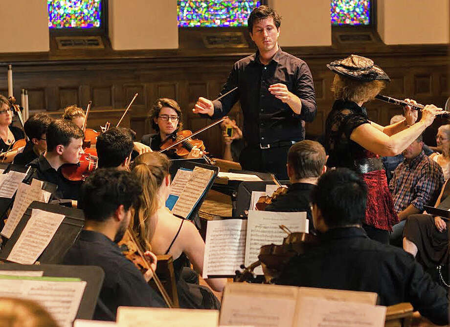Darren Ziller leads the Chamber Orchestra of Fairfield in its inaugural concert at First Church Congregational, which raised money for the Emma Jane von Euler Music Scholarship at the High School Scholarship Foundation of Fairfield. Photo: Contributed / Contributed Photo / Fairfield Citizen