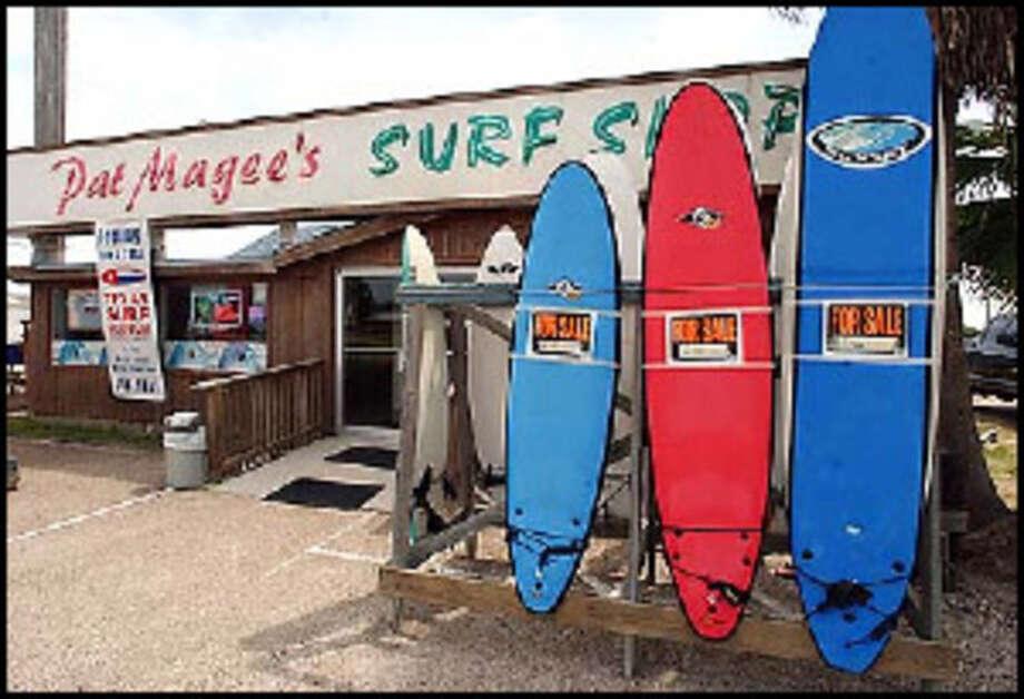 Pat Magee's Surf Shop in Port Aransas. (Photo by Alison Beshur/Corpus Christi Caller Times)