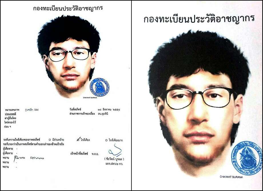 This image released by the Royal Thai Police shows a detailed sketch of the main suspect. Photo: Associated Press