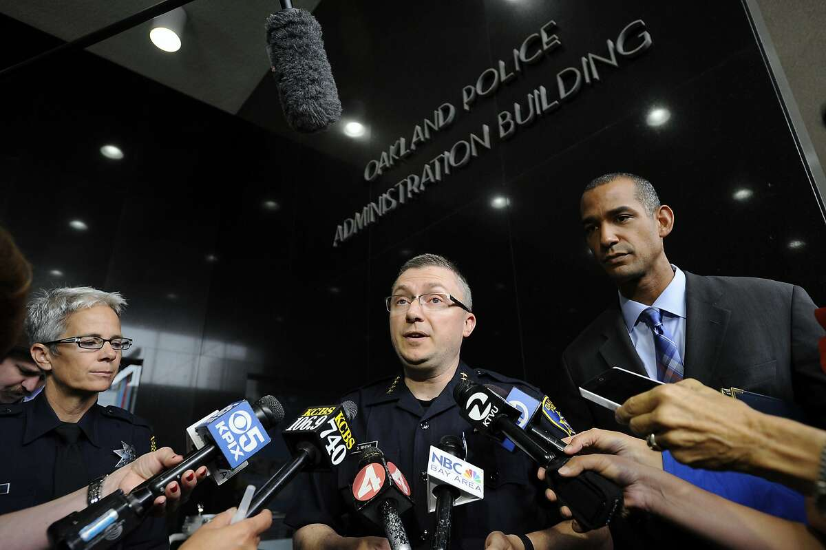 Chief Sean Whent speaks to the media following a viewing for media members of officer body cam videos in the police involved deaths of Nate Wilks and Richard Linyard Jr., at OPD headquarters in Oakland, CA Wednesday, August 19, 2015.