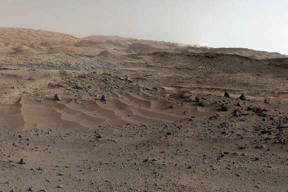 Marking the anniversary, NASA released a massive Martian panorama, snapped by the rover Curiosity and its Mars Science Laboratory during its gradual ascent of the 18,000-foot-tall Mount Sharp—the ultimate destination of Curiosity's nearly seven-mile journey since landing on August 6, 2012. (NASA)