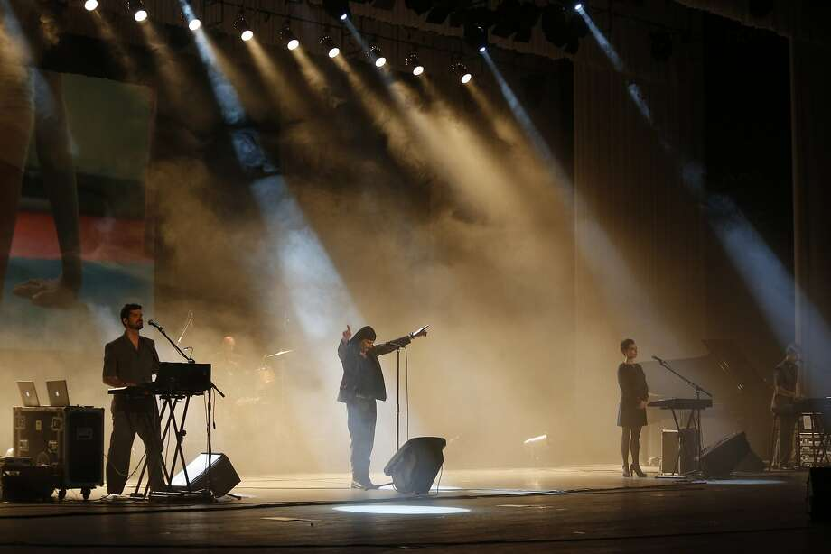 Laibach performs in one of the more unusual attempts at opening the door to what is seen as decadent Western culture. Photo: Dita Alangkara, Associated Press