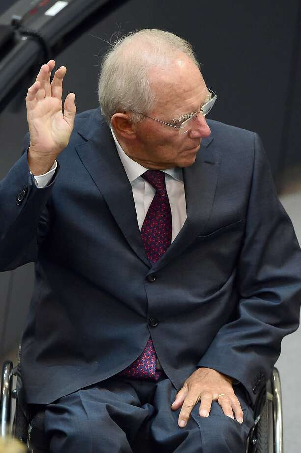 German Finance Minister Wolfgang Schaeuble gestures during a debate ahead of a vote on a third bailout for debt-mired Greece at German lower house of parliament (the Bundestag) in Berlin on Aug. 19, 2015. Photo: John Macdougall, AFP / Getty Images