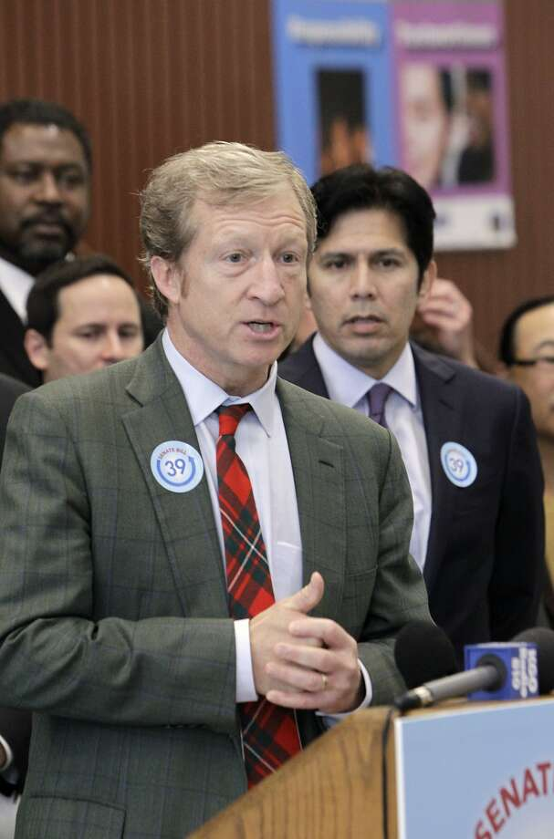 Tom Steyer, the chief financier behind the Proposition 39 campaign, discusses a proposed bill to fund energy efficiency projects at schools in 2012. Photo: Rich Pedroncelli, Associated Press