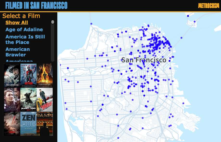 A screen shot of an interactive map showing the filming locations of recent movies made in San Francisco. Continue through the slide show to see which neighborhoods hosted the most shoots since 2013. Photo: Max Galka, Metrocosm