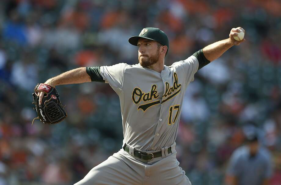 Oakland Athletics' Ike Davis (17) delivers a pitch against the Baltimore Orioles during the eighth inning of a baseball game, Sunday, Aug. 16, 2015, in Baltimore. Davis is listed as a position player on the roster. The Orioles won 18-2. (AP Photo/Nick Wass) Photo: Nick Wass, Associated Press