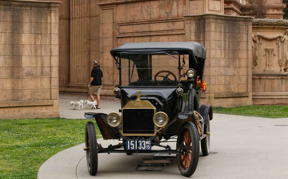 The Palace of Fine Arts is the final destination for a 1915 Ford Model T, which has been traveling from Detroit to San Francisco to commemorate the 100th anniversary of Edsel Ford's historic 3,500-mile cross-country auto road trip to the 1915 international fair and exposition. Photo: Nathaniel Y. Downes, The Chronicle