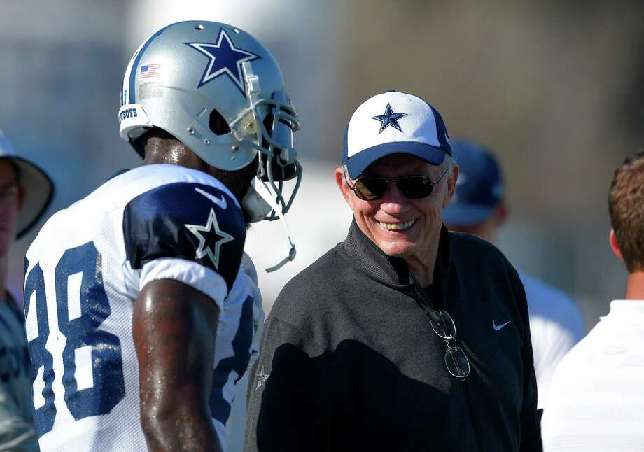 Dallas Cowboys owner Jerry Jones, right, talks with wide receiver Dez Bryant during a joint NFL football training camp with the St. Louis Rams, Tuesday, Aug. 18, 2015, in Oxnard, Calif. Photo: Mark J. Terrill /Associated Press / AP