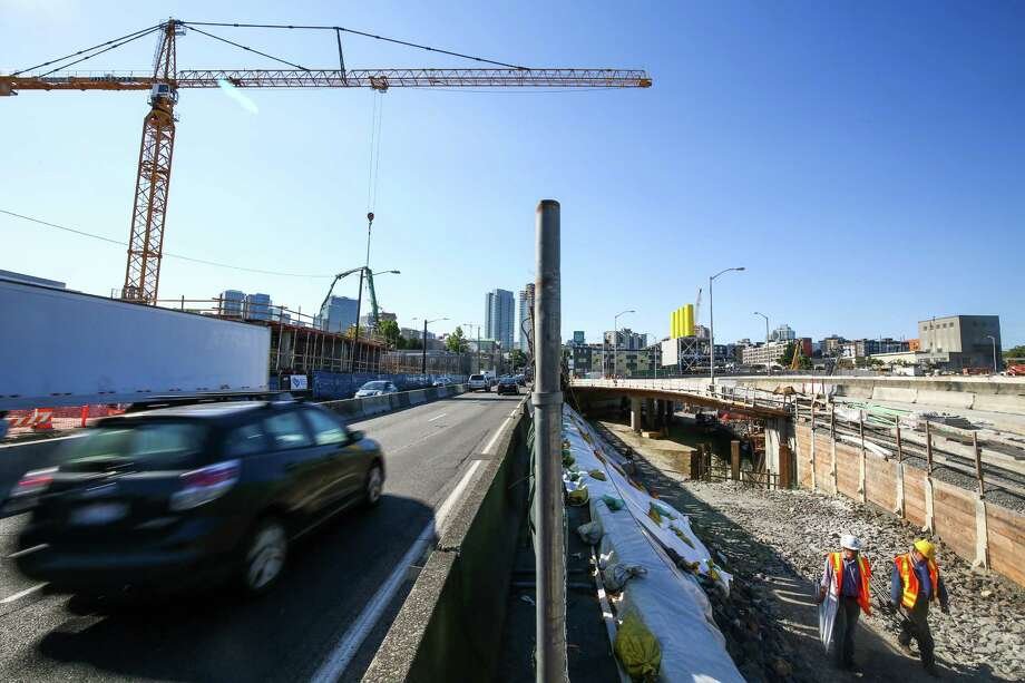 The current route of Highway 99 and the future route are shown during a tour of the north end of the Highway 99 tunnel in downtown Seattle. The route of the roadway will shift in coming days, onto a new overpass. Photographed on Wednesday, August 19, 2015. Photo: JOSHUA TRUJILLO, SEATTLEPI.COM / SEATTLEPI.COM