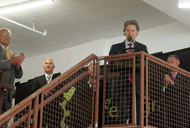Laban Coblentz founder of the Tech Valley Center of Gravity  speaks during the opening of new Tech Valley Center of Gravity and incubator space at the historic Quackenbush Building on Wednesday Aug. 19, 2015 in Troy, N.Y.  (Michael P. Farrell/Times Union) Photo: Michael P. Farrell / 00032988A
