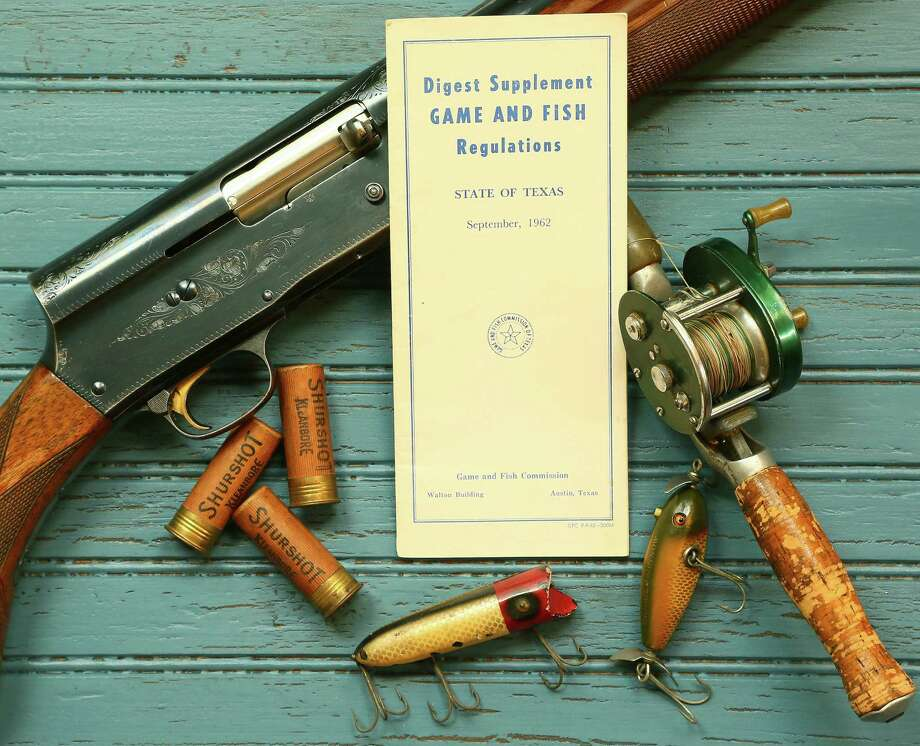 A 1962 Texas hunting and fishing regulations digest rests among a shotgun, shells, a fishing reel and lures used when the booklet's rules guided actions of the state's hunters and anglers more than a half-century ago. Photo: Picasa