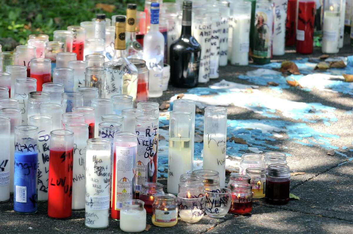 A memorial to Ahziarh Carter who was killed at the corner of Hutton and Old Sixth Avenue on Wednesday Aug. 19, 2015 in Troy, N.Y. (Michael P. Farrell/Times Union)
