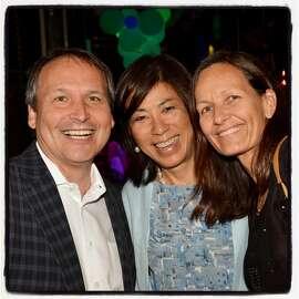ESPN VP Kevin Martinez (left) with V Foundation Wine Celebration honorees vintner Naoko Dalla Valle and Dr. Sabine Mueller. August 2015.