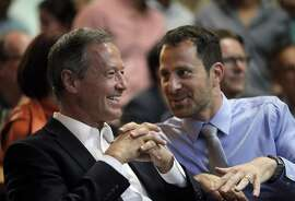 Democratic presidential candidate Martin O'Malley, left, chats with Michael Vole of Tel Avivi as O'Malley visited San Francisco to hobnob with techies and raise money at the  Civic Tech Competition at The Hall in San Francisco, CA, Calif.,  on Wednesday, August 19, 2015.