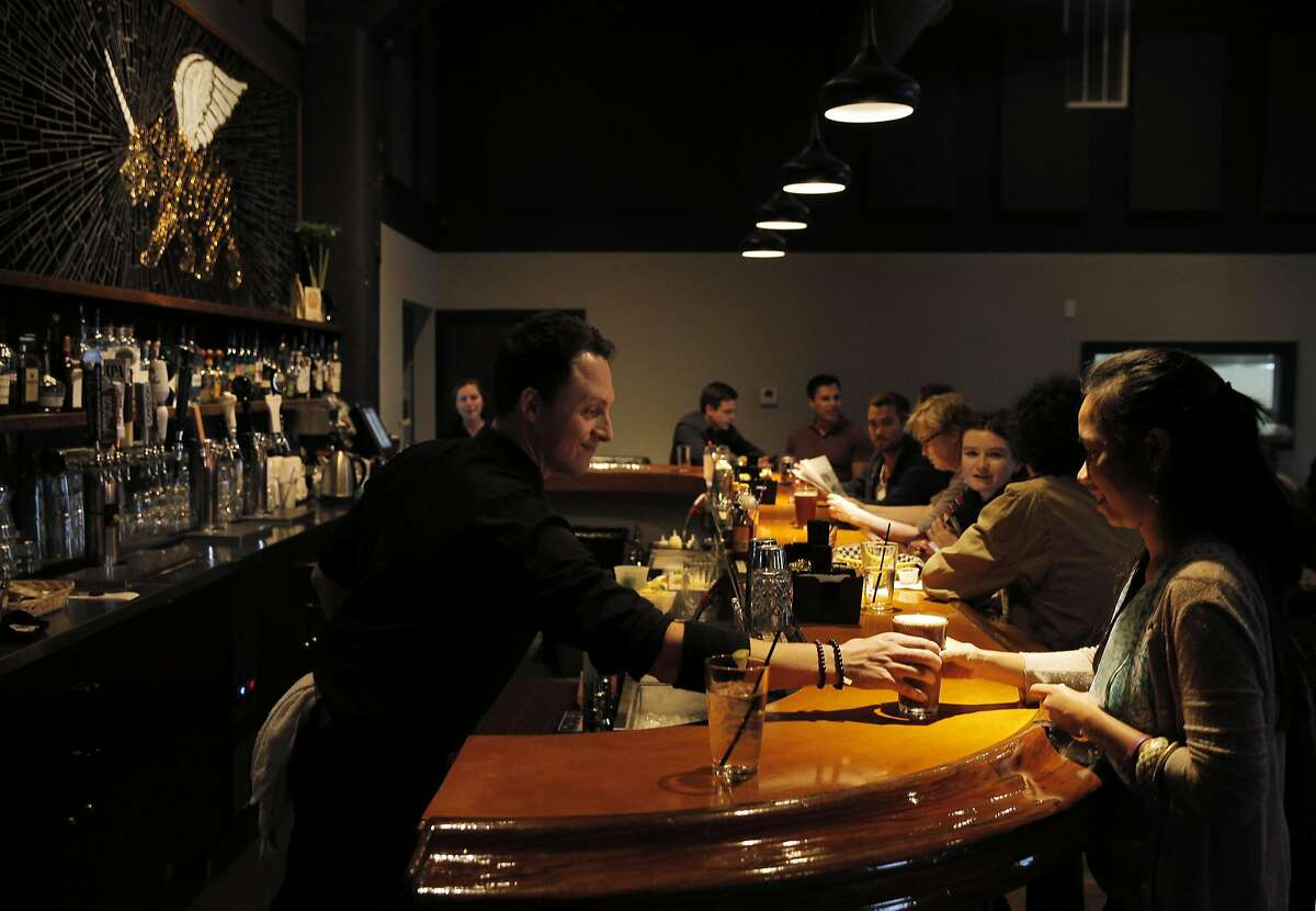 Bartender Dave Levine serves Angelica Dongallo at PianoFight, San Francisco's newest entertainment/food/bar space in the old Original Joe's space in the Tenderloin inSan Francisco, Calif., on Wednesday, August 19, 2015.