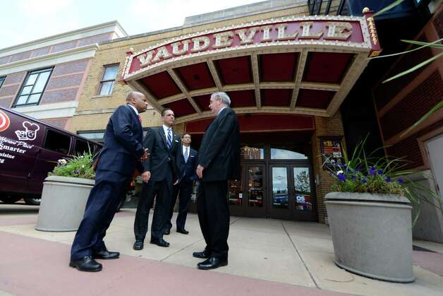 Speaker Carl Heastie, left, Assemblyman Angelo Santabarbara, center, and Mayor Gary McCarthy, right, wait outside Proctors Theater before touring the facility Wednesday, Aug. 19, 2015, in Schenectady, N.Y. Speaker Heastie also visited several other Schenectady County locations including General Electric Global Research Central Park and Mohawk Harbor. (Will Waldron/Times Union) Photo: WW