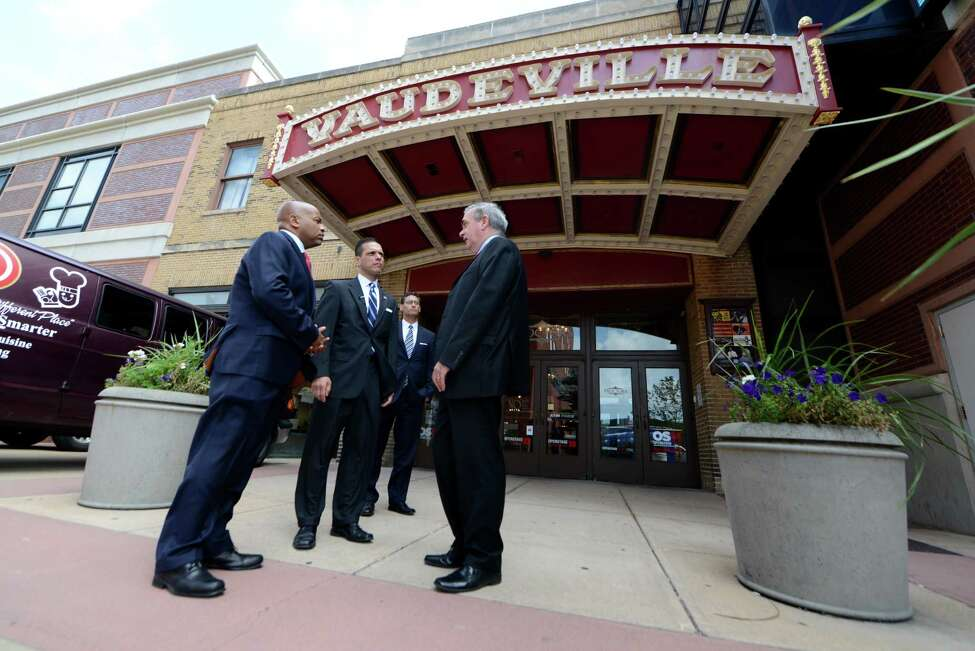 Speaker Carl Heastie, left, Assemblyman Angelo Santabarbara, center, and Mayor Gary McCarthy, right, wait outside Proctors Theater before touring the facility Wednesday, Aug. 19, 2015, in Schenectady, N.Y. Speaker Heastie also visited several other Schenectady County locations including General Electric Global Research Central Park and Mohawk Harbor. (Will Waldron/Times Union)