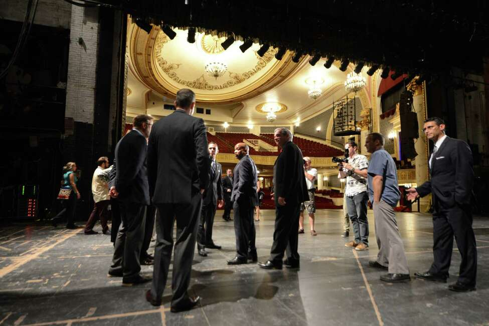 Speaker Carl Heastie, center, is given a tour of Proctors Theater with Assemblyman Angelo Santabarbara, center left, and Mayor Gary McCarthy, center right, Wednesday, Aug. 19, 2015, in Schenectady, N.Y. Speaker Heastie also visited several other Schenectady County locations including General Electric Global Research Central Park and Mohawk Harbor. (Will Waldron/Times Union)
