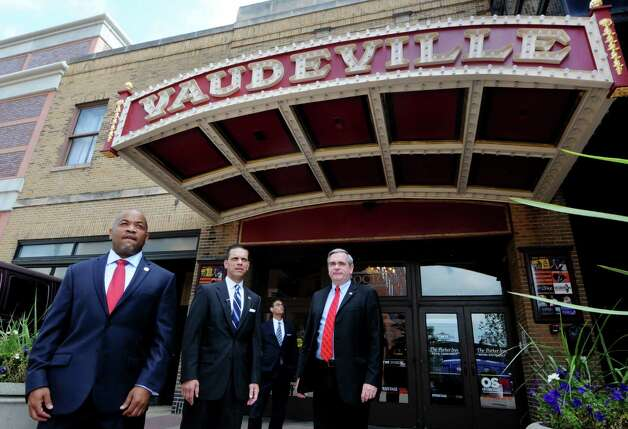Speaker Carl Heastie, left, Assemblyman Angelo Santabarbara, center, and Mayor Gary McCarthy wait outside Proctors Theater before touring the facility Wednesday, Aug. 19, 2015, in Schenectady, N.Y. Speaker Heastie also visited several other Schenectady County locations including General Electric Global Research Central Park and Mohawk Harbor. (Will Waldron/Times Union) Photo: WW
