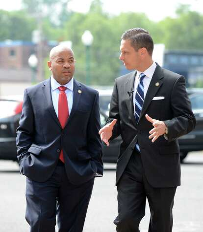 Speaker Carl Heastie, left, is joined by Assemblyman Angelo Santabarbara, right, before being given a tour of Proctors Theater Wednesday, Aug. 19, 2015, in Schenectady, N.Y. Speaker Heastie also visited several other Schenectady County locations including General Electric Global Research Central Park and Mohawk Harbor. (Will Waldron/Times Union) Photo: WW