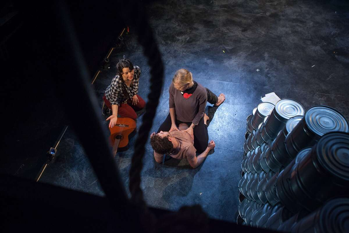 """Director Erika Chong Shuch (left) works on a scene with Megan Trout in the title role and Kenny Toll, who plays the part of Orpheus, in """"Eurydice"""" at a rehearsal at Shotgun Players on Thurs, August 19, 2015 in Berkeley, Calif."""