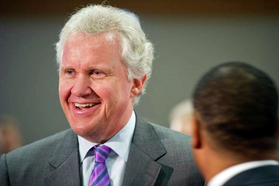 GE CEO Jeffrey Immelt chats at a September 2011 forum with the Metro Atlanta Chamber of Commerce. On August 19, 2015, Bloomberg reported Fairfield-based GE is considering Atlanta as its new headquarters, with Dallas also in the mix. Photo: Chris Rank / Bloomberg / © 2011 Bloomberg Finance LP