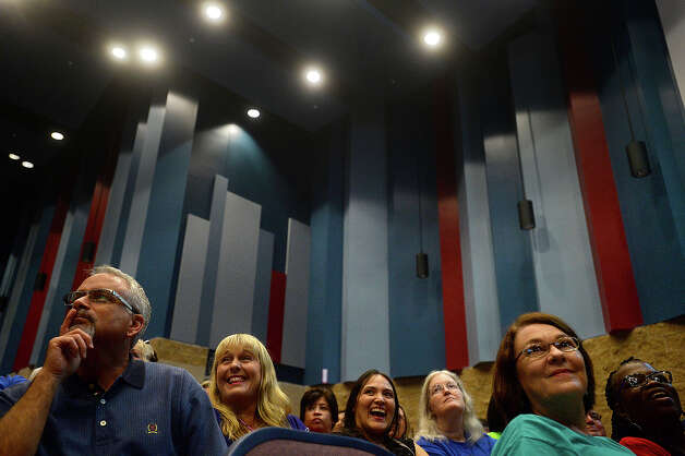 The crowd listen during a teacher convocation led by Beaumont ISD superintendent John Frossard at West Brook High School Wednesday. The event drew teachers, administrators and other school employees, givi