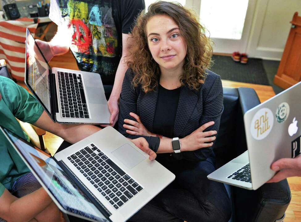 Ant Hill CEO Marcella Jewell in the main office space of their Hacker House, where young entrepreneurs live and work Thursday July 2, 2015 in Saratoga Springs, NY. (John Carl D'Annibale / Times Union)