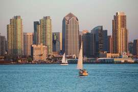Scenic San Diego skyline, sailboat and waterfront, Pacific Ocean at sunset, California. (Photo by: Visions of America/UIG via Getty Images)