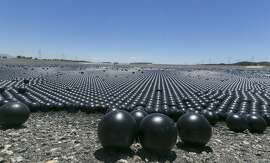 "Over 90 million plastic balls cover the Los Angeles Reservoir in the Sylmar area of Los Angeles Wednesday, Aug. 12, 2015. The city has completed a program of covering open-air reservoirs with floating ""shade balls"" to protect water quality.  The 4-inch-diameter plastic balls block sunlight from penetrating the 175-acre surface of the reservoir, preventing chemical reactions that can cause algae blooms and other problems.  (AP Photo/Damian Dovarganes)"
