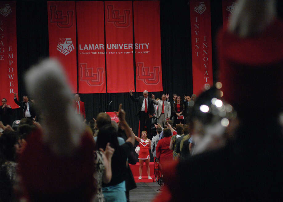 Lamar University President Kenneth Evans shares news about the university during the annual convocation address at the beginning of the academic year.  Photo: Lamar University