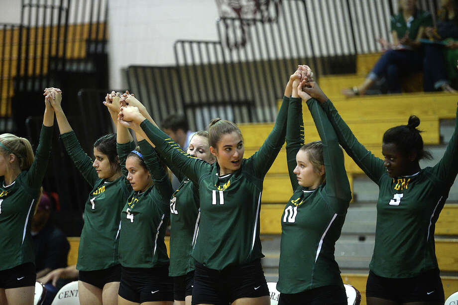 Little Cypress - Mauriceville gets ready to face Central during their volleyball match-up Tuesday at Central High School.  Photo taken Tuesday, August 18, 2015 Kim Brent/The Enterprise Photo: Kim Brent / Beaumont Enterprise