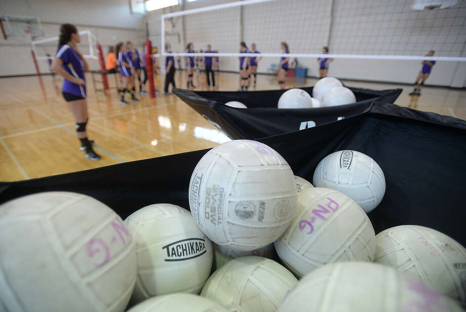 Port - Neches Groves volleyball varsity and junior varsity prepare for the upcoming season during practice Monday. 
