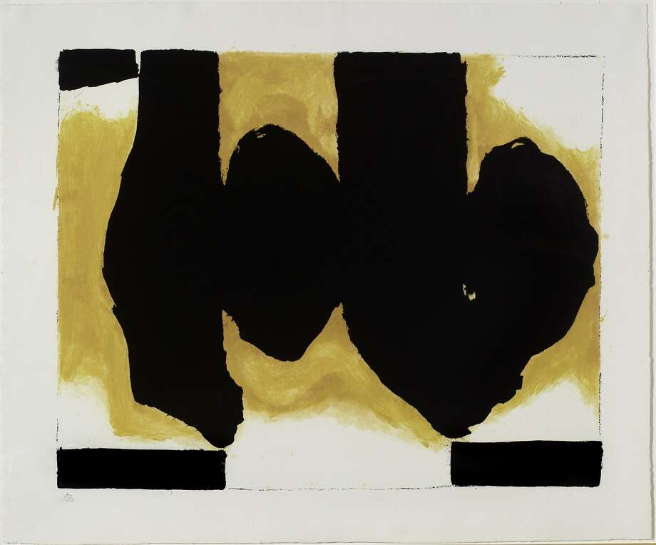 """Robert Motherwell (American, 1915-1991), """"Burning Elegy,"""" 1991. Color lithograph. 52 ½ x 63 1/8 in. Cantor Arts Center, Photo: Cantor Arts Center"""