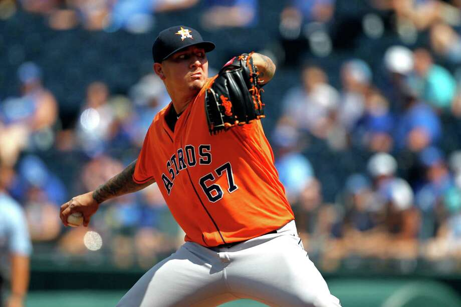 Houston Astros pitcher Vincent Velasquez throws in the in the eighth inning of a baseball game against the Kansas City Royals at Kauffman Stadium in Kansas City, Mo., Sunday, July 26, 2015. The Royals beat the Astros 5-1. Photo: Colin E. Braley /Associated Press / FR123678 AP