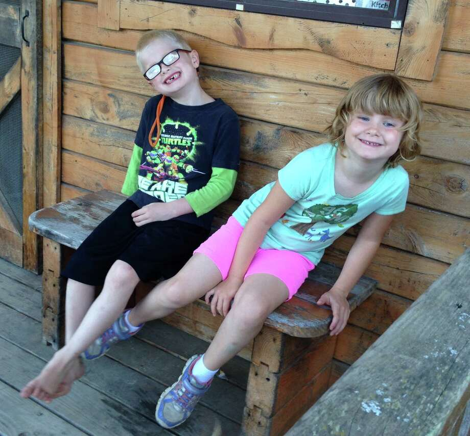 Andrew and Matilda Gish on their first camping — or in a not-so-rustic cabin was it glamping? — trip. (Jennifer Gish)