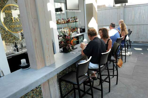 The bar on Thursday, Aug. 13, 2015, at The Patio at 15 Church in Saratoga Springs, N.Y. (Cindy Schultz / Times Union) Photo: Cindy Schultz / 00032979A