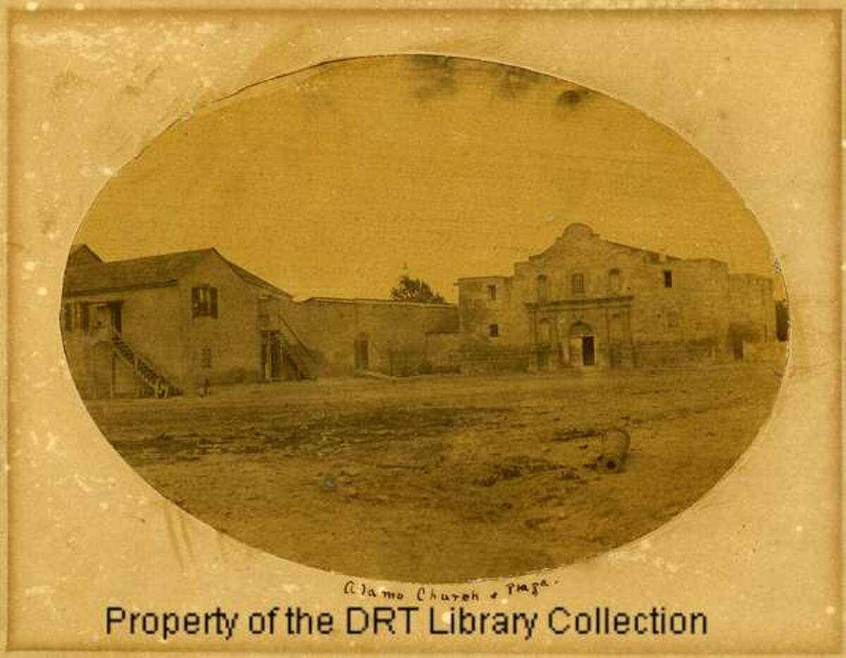 Alamo Church & plaza, circa 1858. From the DRT: