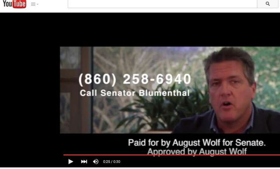 Republican U.S. Senate candidate August Wolf, shown in this screen capture, released his first television ad Thursday, Aug. 20, 2015. Photo: Neil Vigdor / Hearst Connecticut Media / Connecticut Post