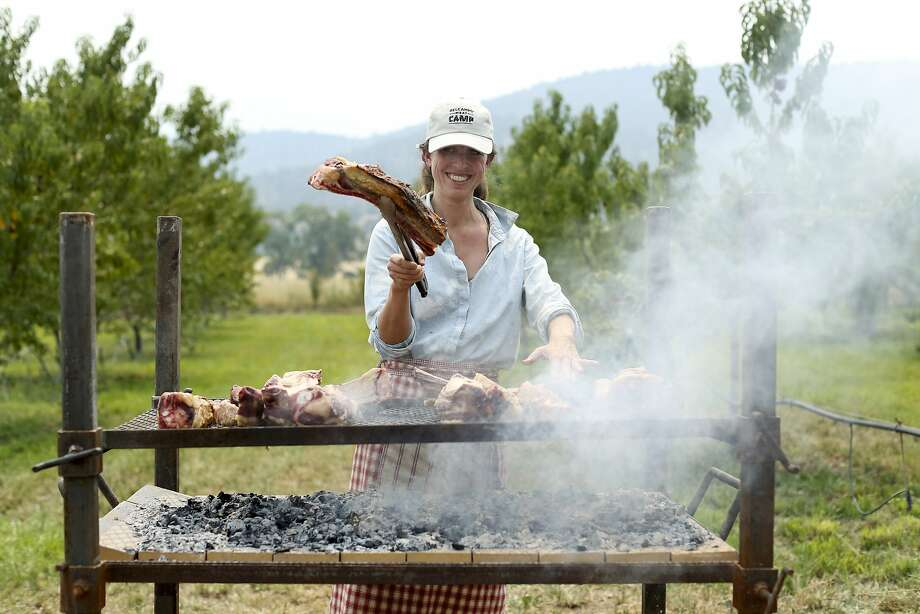 Belcampo President Bronwen Hanna-Korpi grills beef ribs for dinner. She and Belcampo's CEO, Anya Fernald, taught most of the classes and workshops. Photo: Matthew Runeare, Courtesy Of Belcampo Meat Co.
