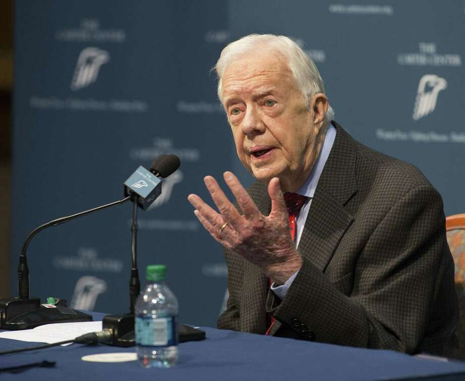 """Former President Jimmy Carter talks about his cancer diagnosis during a news conference at The Carter Center in Atlanta on Thursday, Aug. 20, 2015. Carter announced that his cancer is on four small spots on his brain and he will immediately begin radiation treatment, saying he is """"at ease with whatever comes."""" (AP Photo/Phil Skinner) Photo: Phil Skinner, FRE / Associated Press / FRE171120 AP"""
