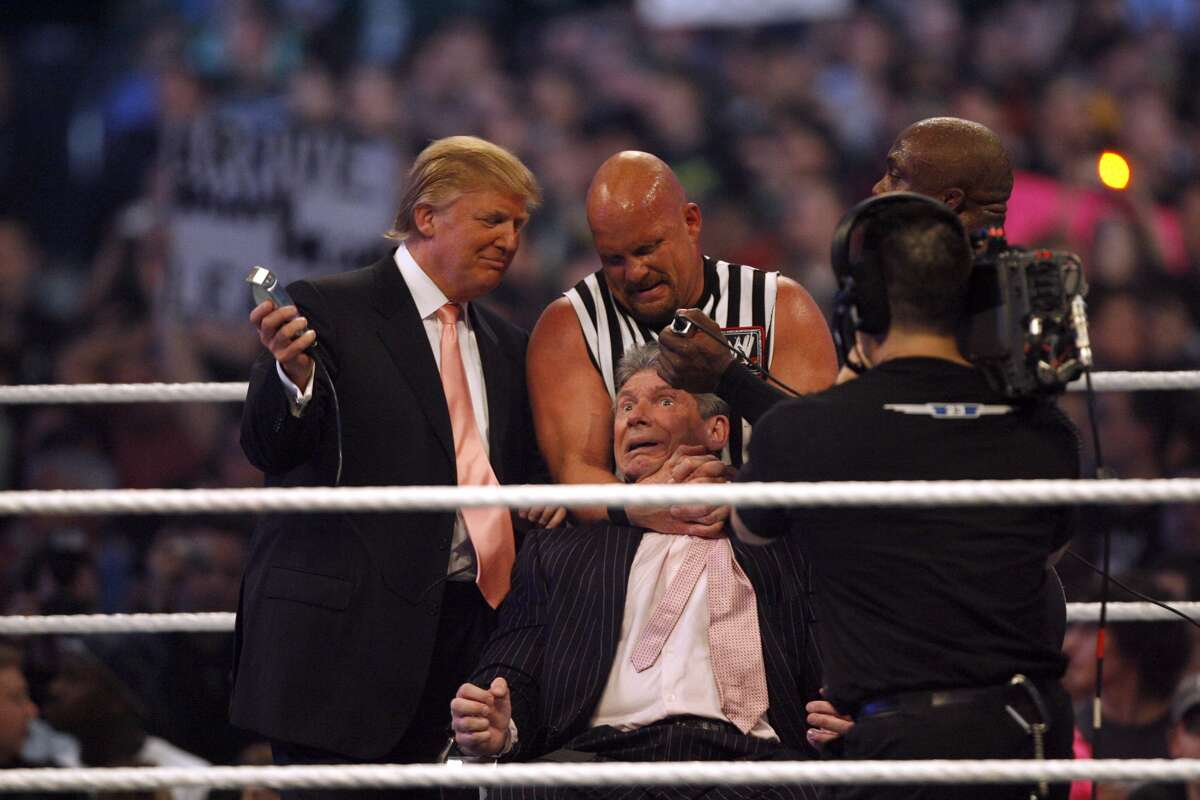 The Trump Stunner  Trump will be the first sitting president to have been inducted into the WWE Hall of Fame, and the first to be able to say he was (former) owner of Monday Night Raw.