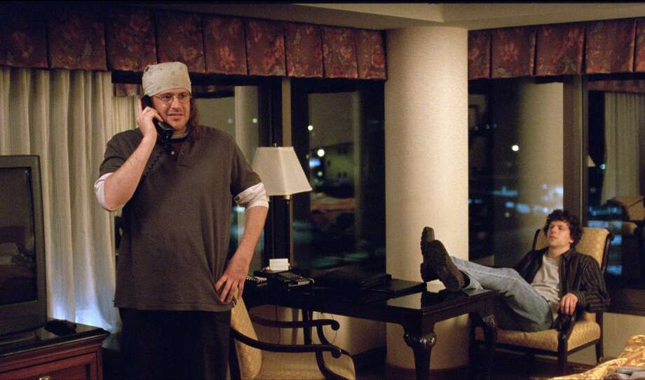 "In this image released by A24 Films, Jesse Eisenberg, right, and Jason Segel appear in a scene from the film, ""The End of the Tour."" (A24 Films via AP) ORG XMIT: NYET233 / A24 Films"
