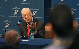 Former President Jimmy Carter discusses his cancer diagnosis at the Carter Center Thursday, AUg. 20, 2015 in Atlanta, Ga. The 90-year-old announced he had cancer after doctors removed small masses from his liver earlier this month. (Bob Andres/Atlanta Journal-Constitution/TNS)