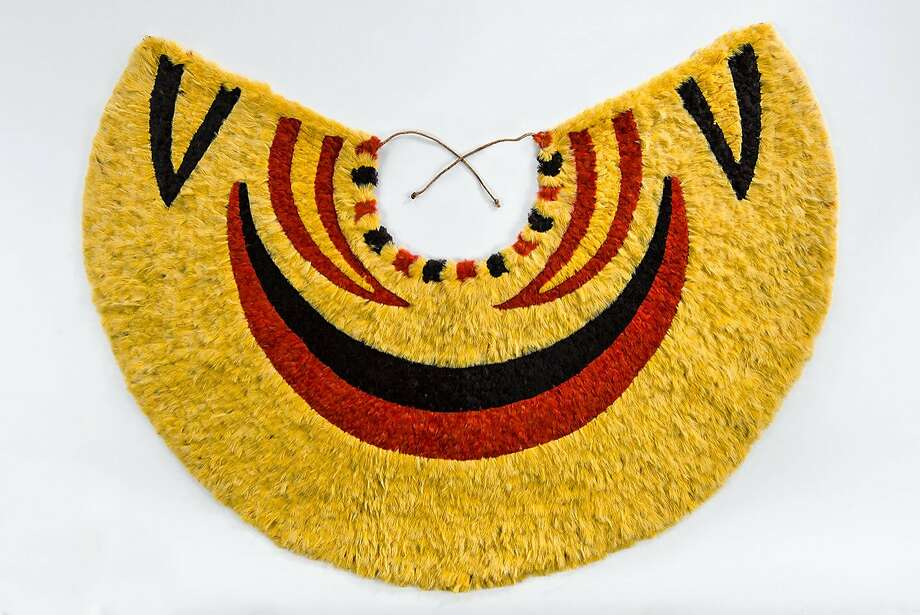 """This 'ahu 'ula, or cape, possibly late 18th–early 19th century, measuring 187⁄8 x 291⁄8 inches, is on display as part of """"Royal Hawaiian Featherwork: Nā Hulu Ali'i,"""" open August 29, 2015 – February 28, 2016 at the de Young Museum, S.F.  Courtesy of Fine Arts Museums of San Francisco Photo: Courtesy Of Fine Arts Museums Of"""