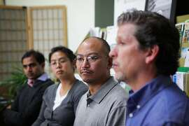 Martin Bourque (right), the boss of Daniel Maher(center), praised his employee Daniel for being an exemplary person and employee, not deserving of being detained by ICE, at a press conference at The Ecology Center in Berkeley, California, on Thursday, Aug. 20, 2015. Daniel Maher, was detained by ICE on June 20, 2015 and was recently released.