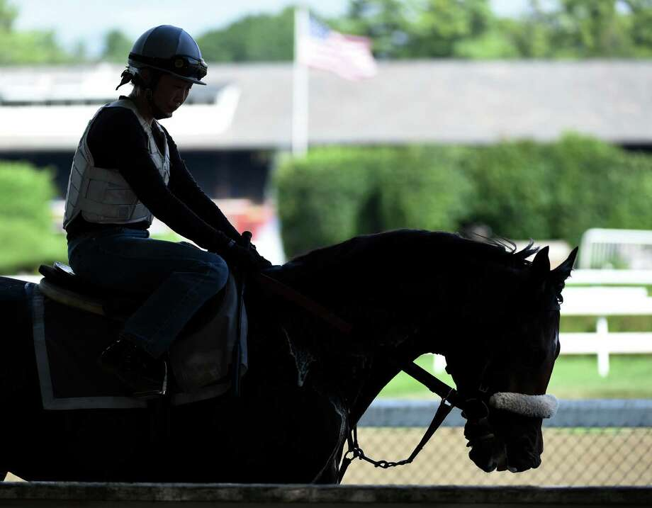 A horse is silhouetted by the clubhouse as he leaves the main track at the of the Saratoga Race course Thursday morning Aug. 20, 2015 after morning exercise  in Saratoga Springs, N.Y.    (Skip Dickstein/Times Union) Photo: SKIP DICKSTEIN